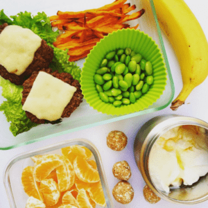 healthy school lunch, sliders, orange, banana, sweet potato, yogurt, nut-free, gluten-free
