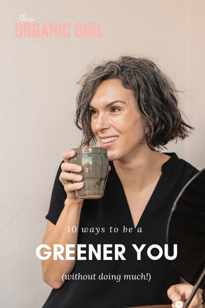 girl drinking a coffee and smiling - tips on how to live responsibly, green, organic without doing much