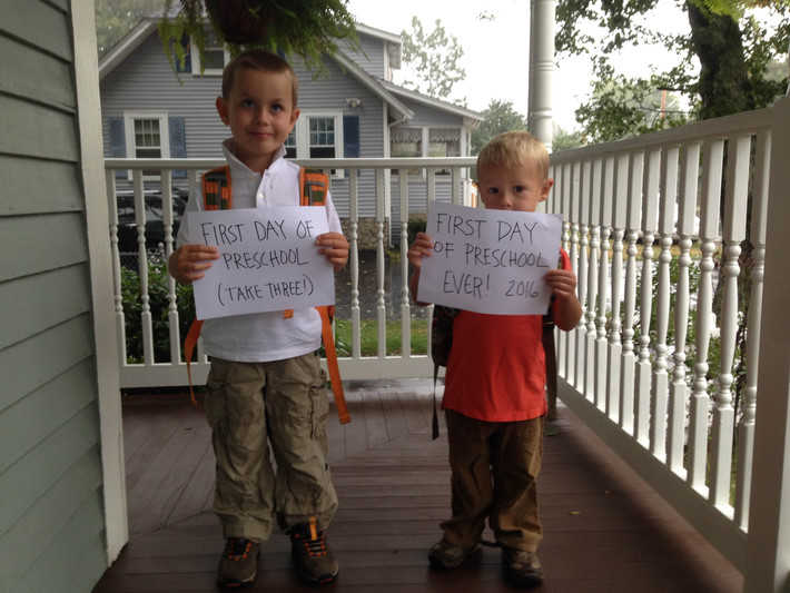 "A ""first day of school"" pic of my boys to break it up."