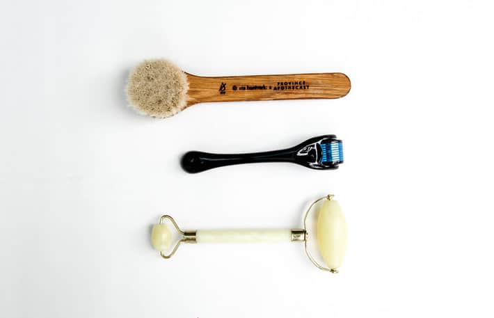 jade roller, micro derm roller and dry facial brush