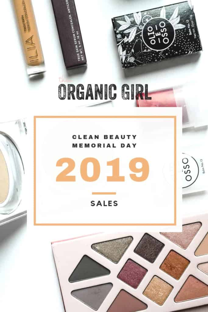 clean beauty flat lay with Memorial Day Sales 2019 promoted on top