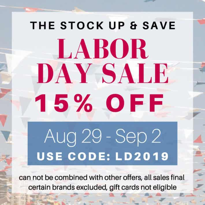 save 15% off at Aillea clean beauty store for labor day