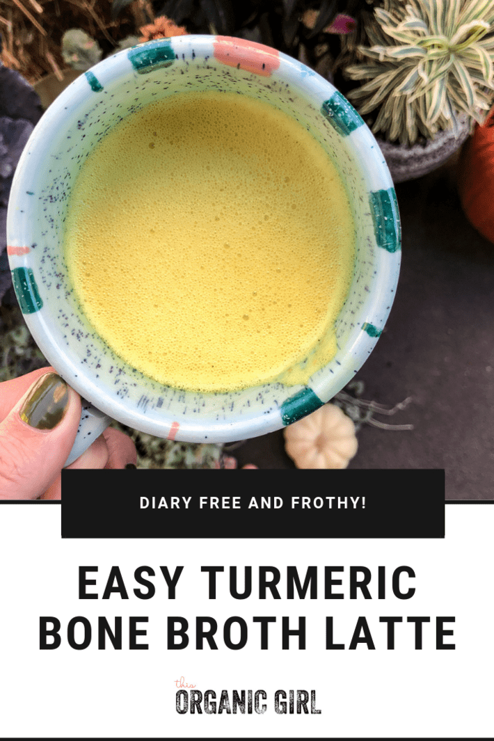 The sexiest way to drink bone broth and probably the best drink you will ever taste. Super anti-inflammatory, frothy, filling and healing - fantastic for colds! Play with making it savory with chives and garlic or sweet with cinnamon and vanilla! A hands-down winner. #thisorganicgirl #bonebrothlatte #dairyfreelatte #turmericlatte #bestgoldenmilk