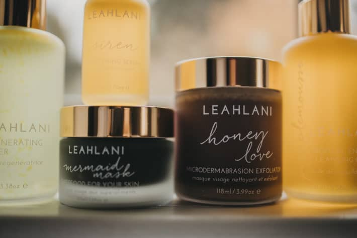 leahlani skincare lined up on a shelf
