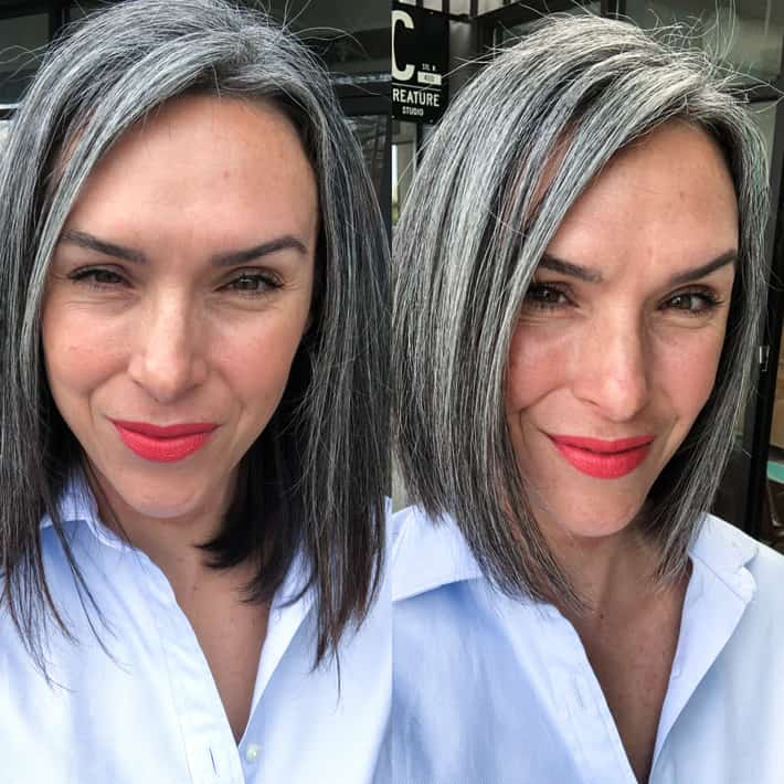 gray hair cut before and after