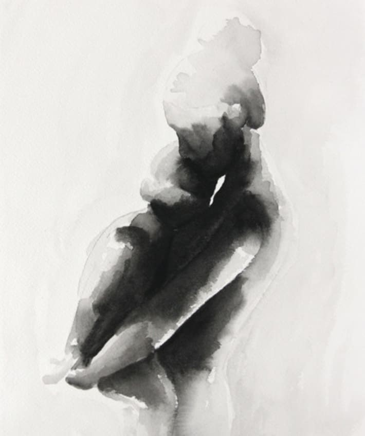 black and white silhouette water color of a mother holding her child