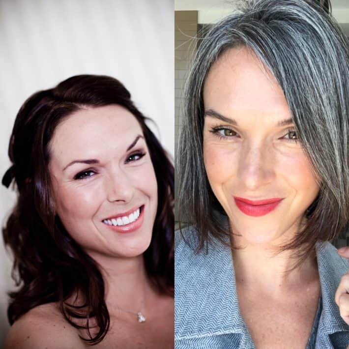 Two selfies of This Organic Girl side by side - one at 31 and one at 41 - #10yearchallenge