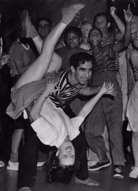 1940s black and white vintage image of two dancers