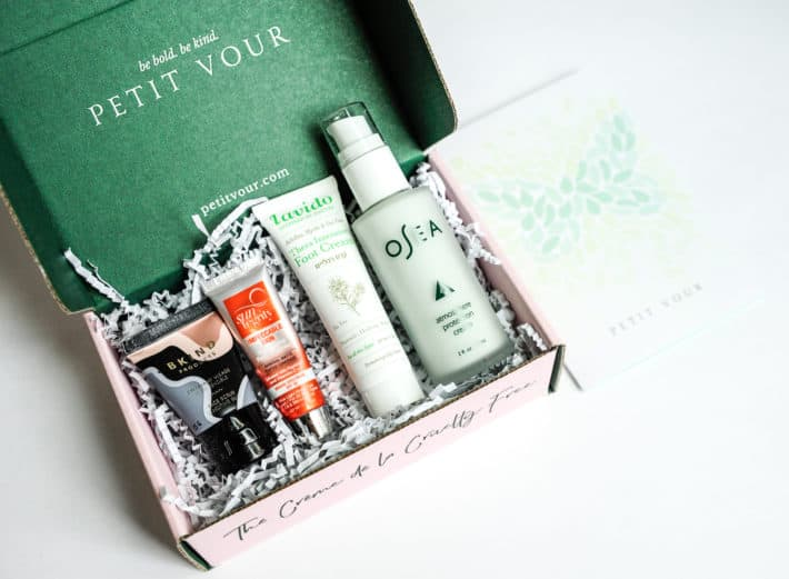 The May Petit Vour Box opened featuring $71 worth of cruelty free beauty