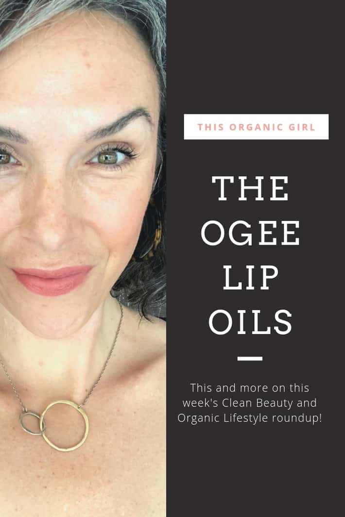 picture of this organic girl close up wearing a nude peach lip color with a black frame on the side describing The OGEE Lip Oils