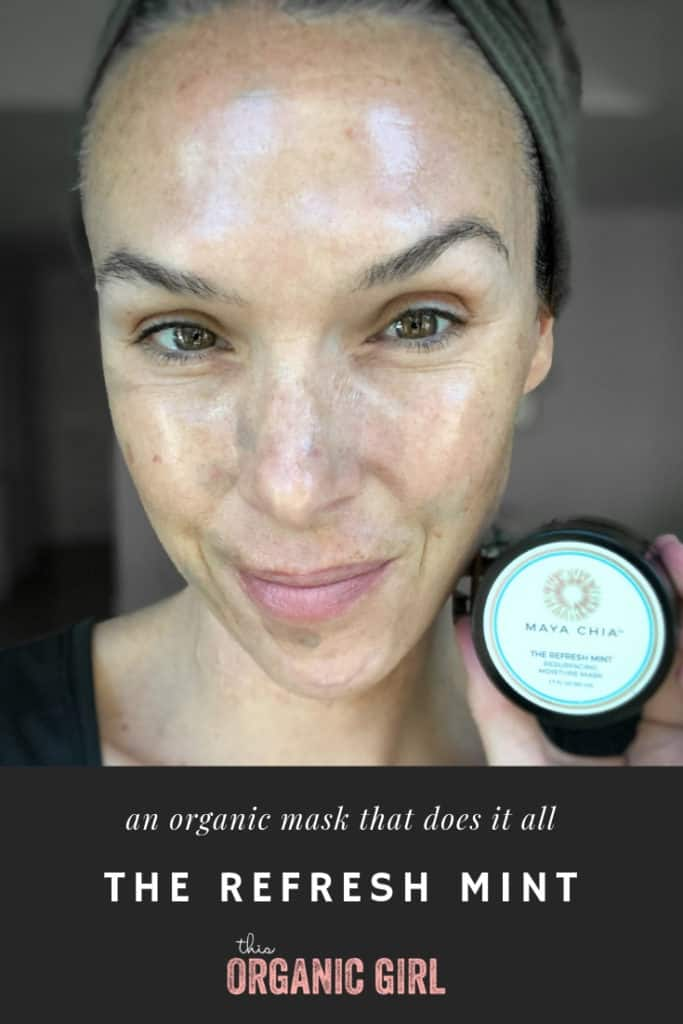 selfie of a girl wearing The Refresh Mint and organic moisturizing and resurfacing mask that's blue