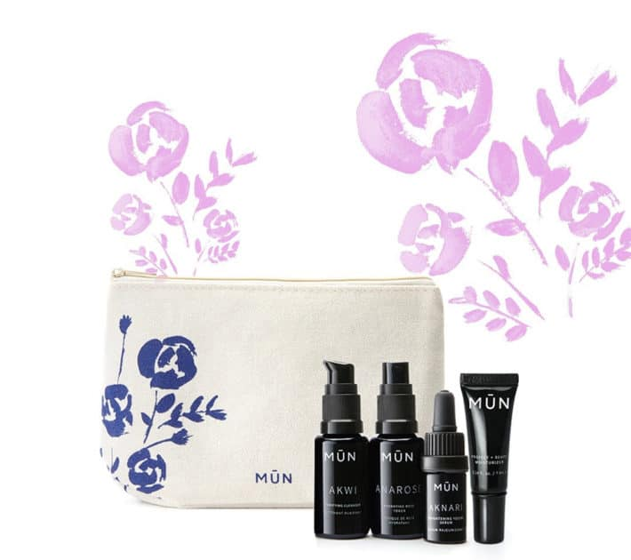 stock photo of Mun skincare travel set with signature pouch