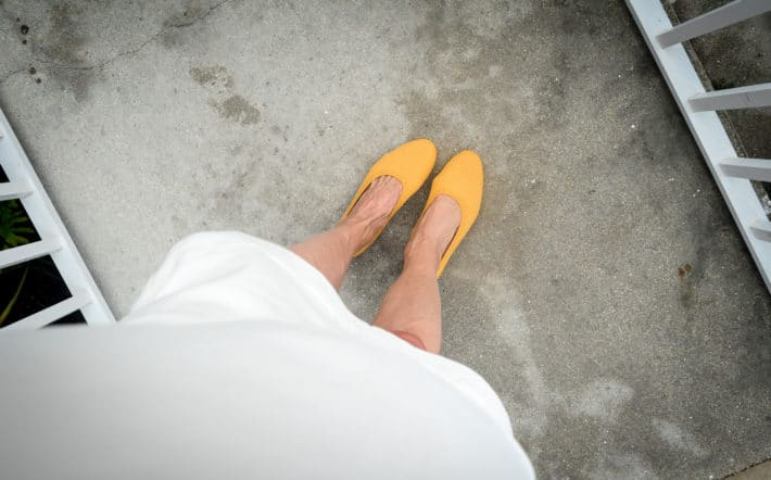 yellow woven ethical flat shoes made with 8 plastic water bottles