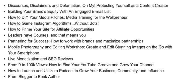 ShiftCon influencer/blogger conference in Atlanta 2019 a list of the speaker lineup