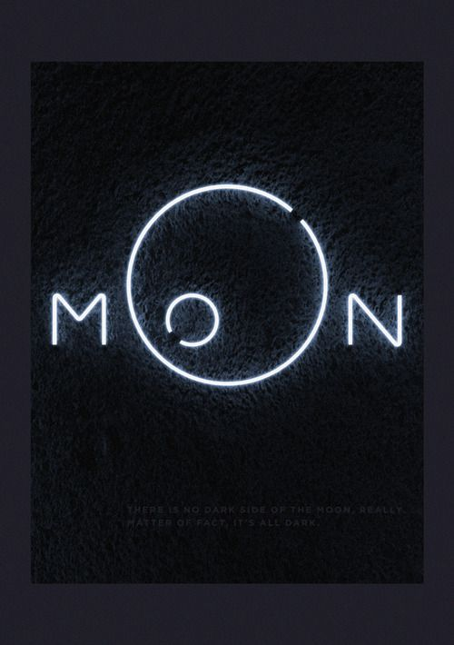 black background with neon white letters spelling out MOoN