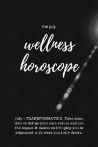 black + white text: the july wellness horoscope is all about transformation