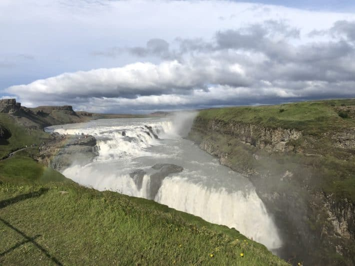 Gullfoss waterfall in Iceland from the street view