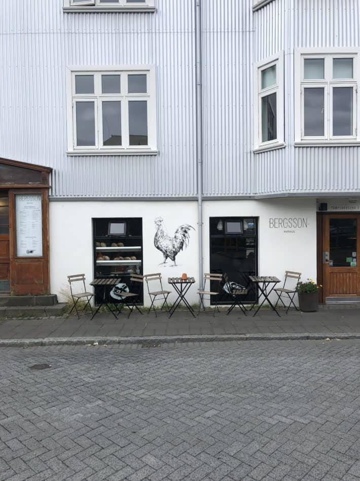 bergsson bakery from the outside, rustic and simple iceland