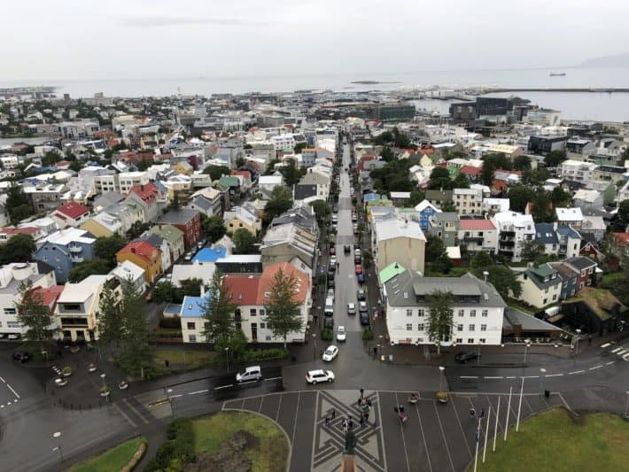 the view of Reykjavik from the top of the church looking down