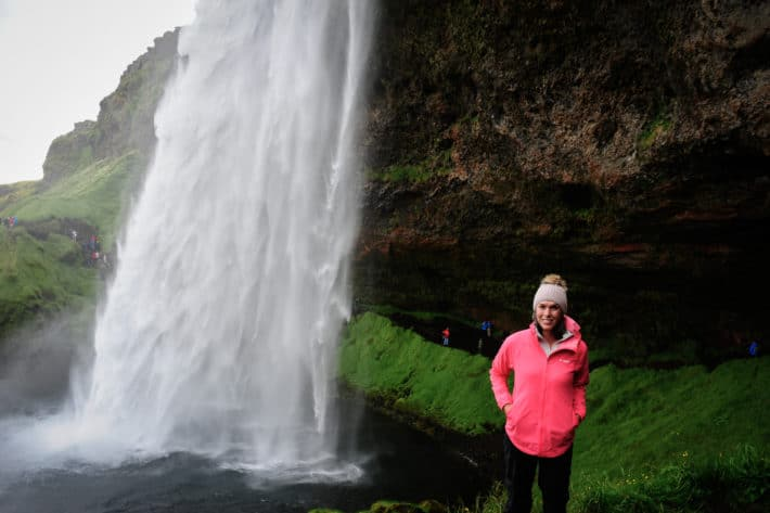200 foot waterfall that you can stand behind in iceland