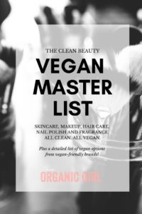 a list of vegan and clean makeup, skincare and hair care.