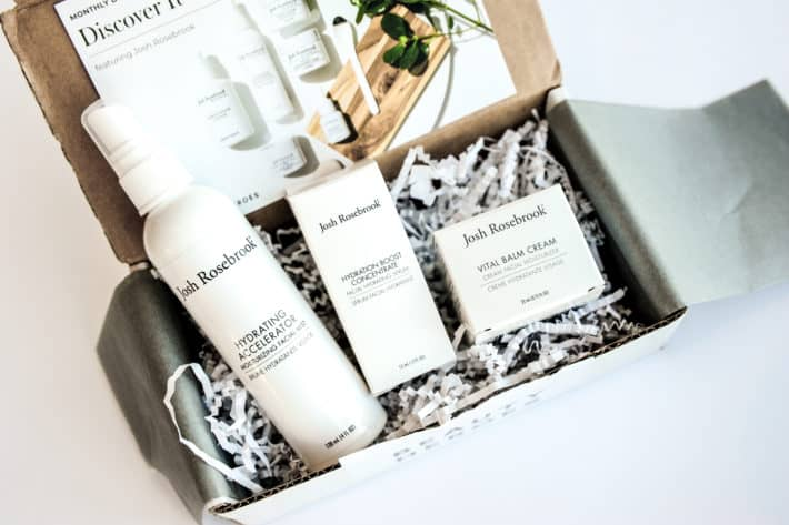 Beauty Heroes unboxing revealing three josh rosebrook skincare products