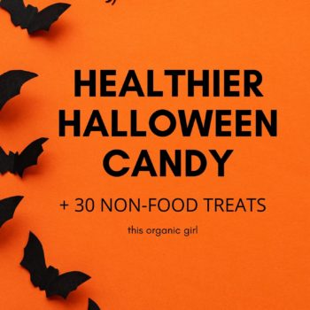 orange flyer with black bats and text saying healthier halloween candy