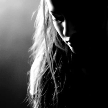black and white silhouette of a girl