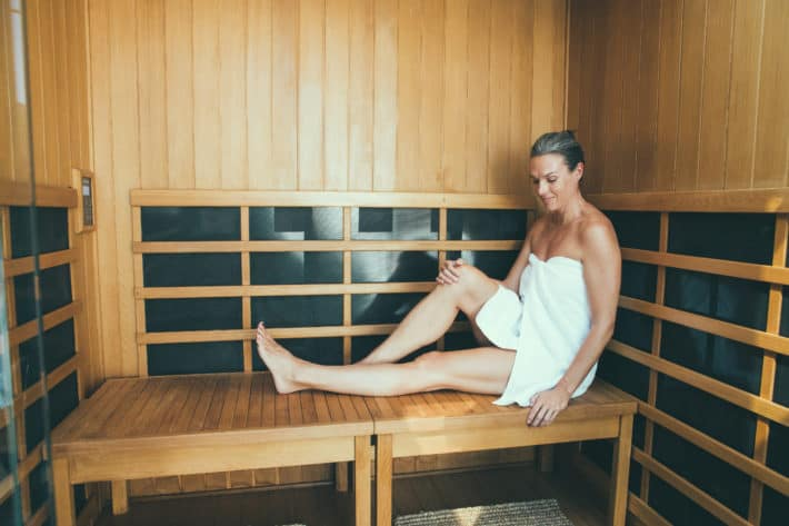 sitting in the sauna at the ranch at laguna