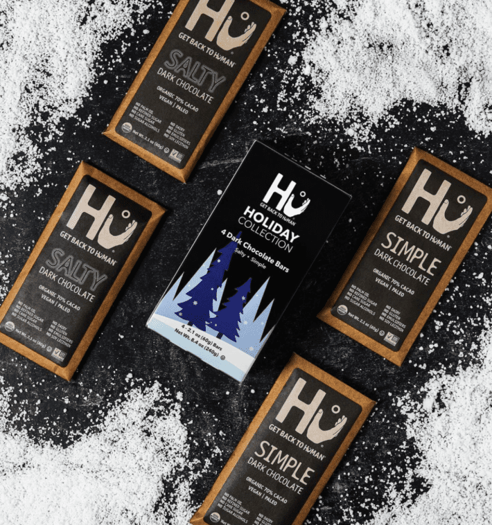 hu chocolate on the ground among snow