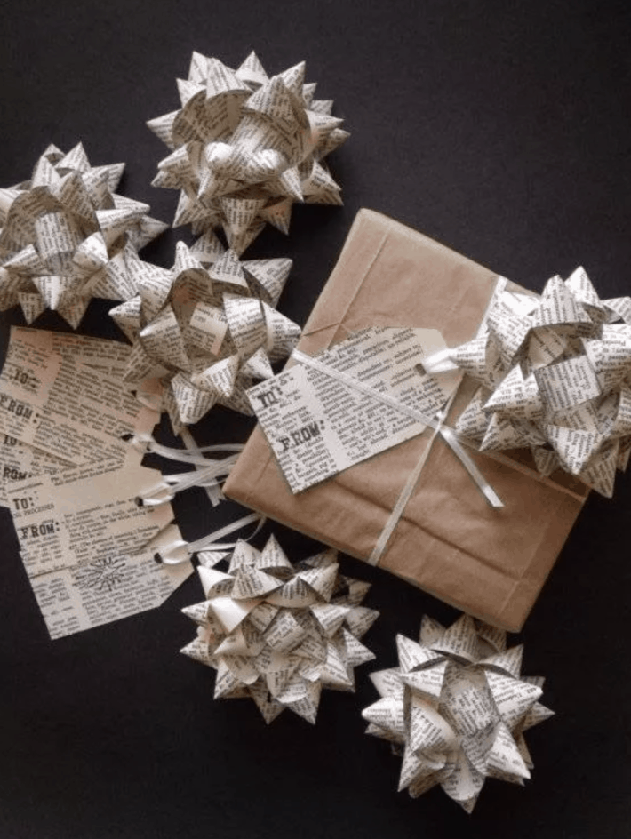several bows made from the pages of books
