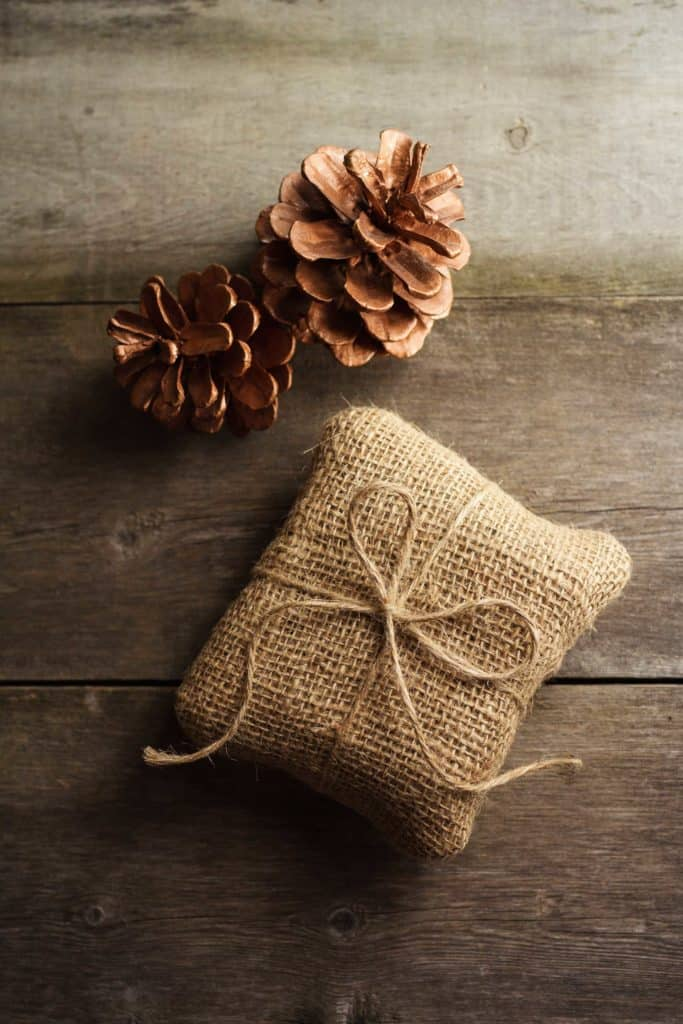 small square gift wrapped in gift wrap