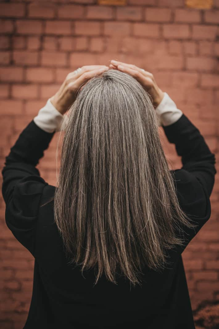 my gray hair from the back
