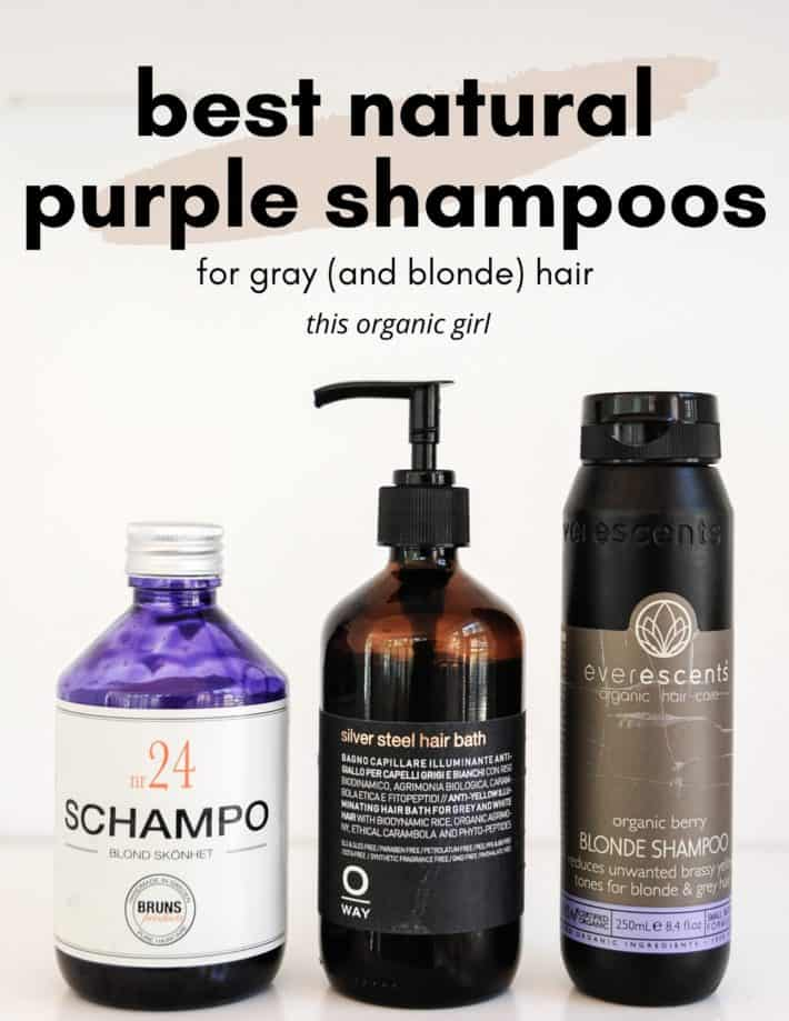 3 bottles of purple shampoo with overlay text for Pinterest