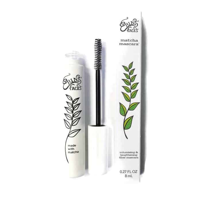 a product photo of Erin's Faces matcha mascara, including the glass tube of mascara and the box that it comes in