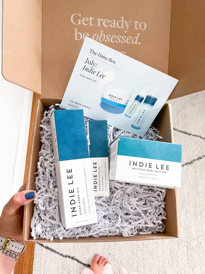 roundup of skincare products from detox box