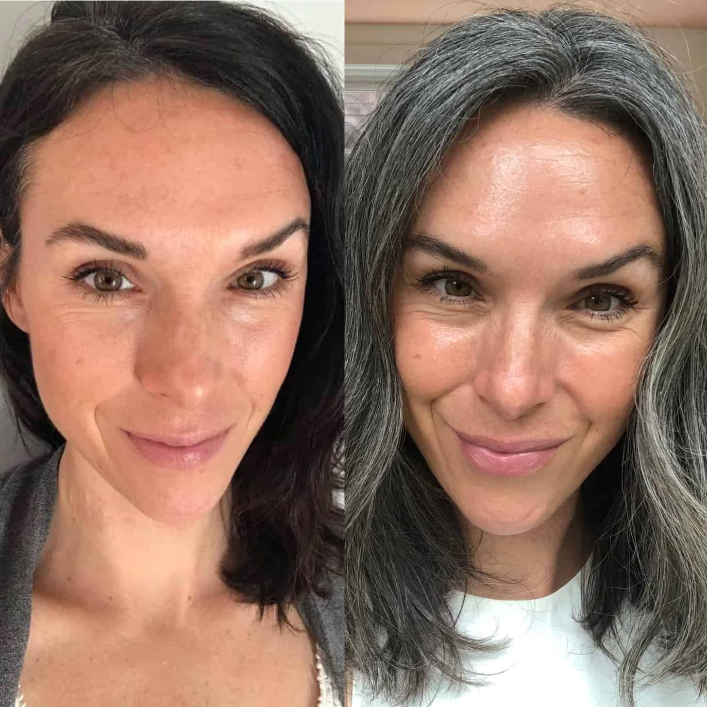 a side by side image of me before and after going gray