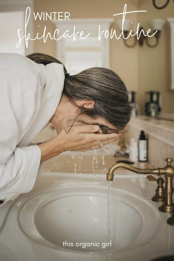 lisa washing her face at the sink