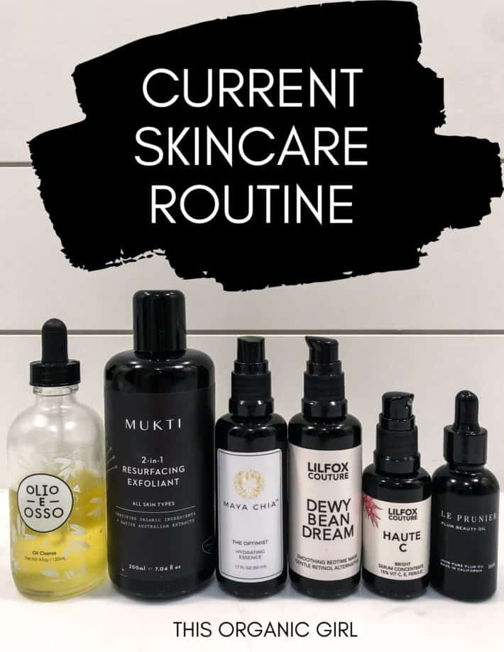 six products lined up in a row with text overlay; current skincare routine