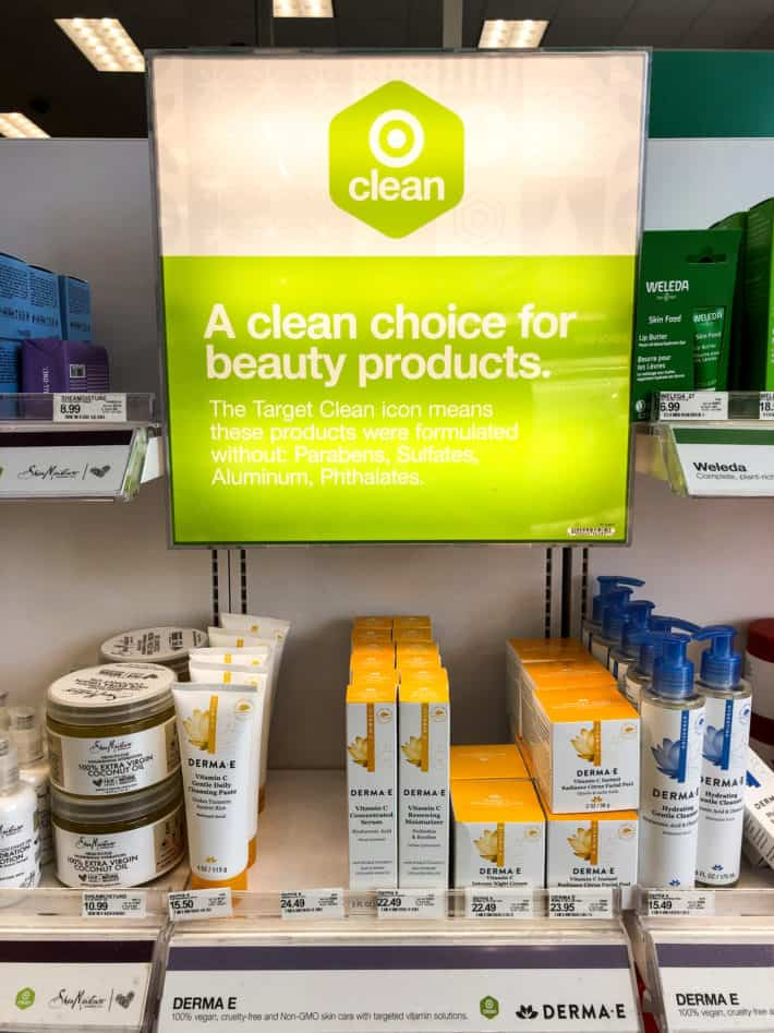 the clean at target green sign in the store