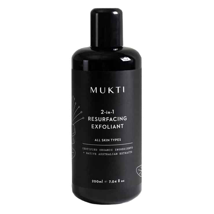 bottle of Mukti's 2-in-1 Resurfacing Exfoliant