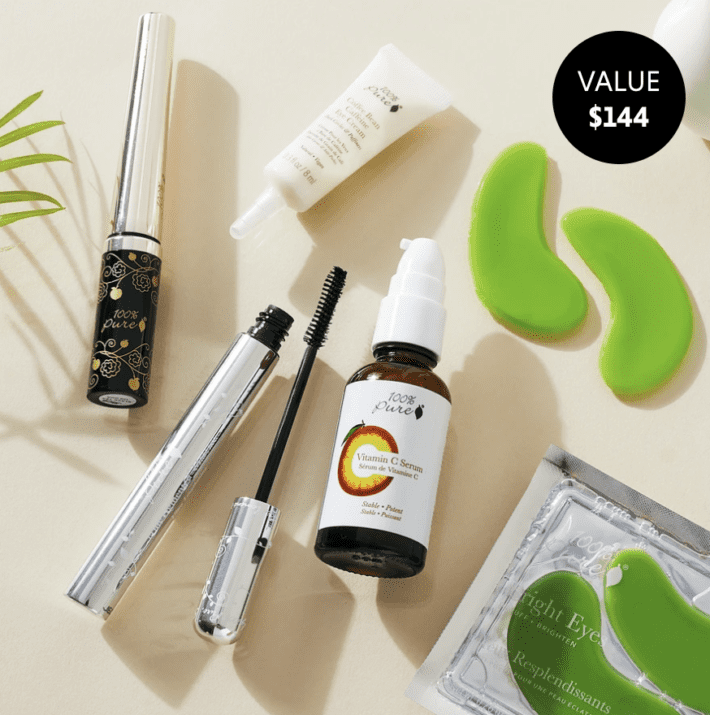 flat-lay of the june detox box featuring 100% pure