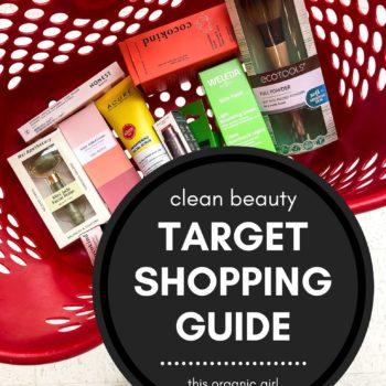 a target basket filled with clean beauty products