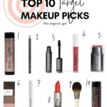 a graphic listing 10 clean makeup products