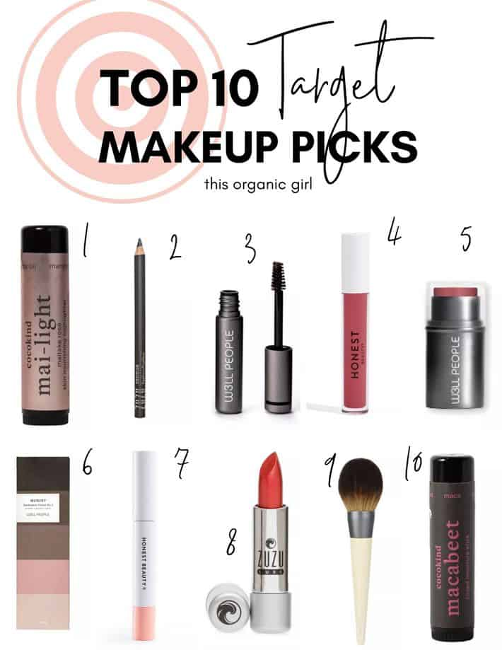 a graphic listing 10 clean makeup products including mascara, eyeliner, and lip care