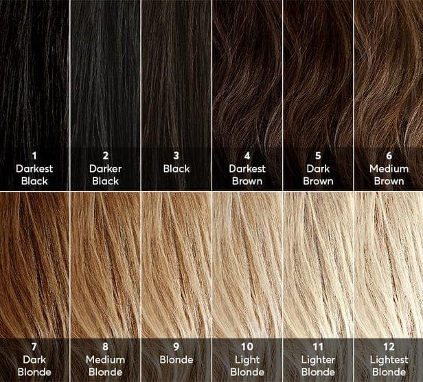 collage of pictures showing different shades of hair from darkest black to lightest blonde