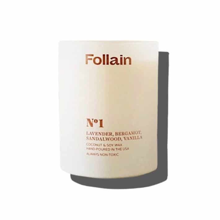 lavender, bergamot, sandalwood, and vanilla scented candle sold by Follain