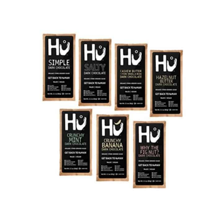 seven HU Kitchen chocolate bars laid out