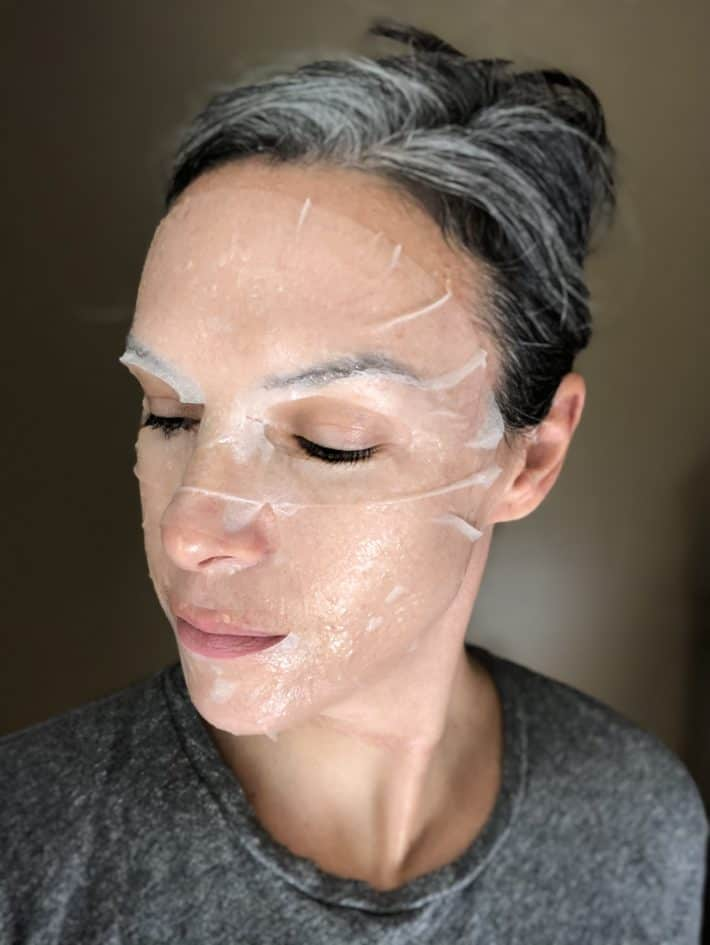an orgaid sheet mask applied