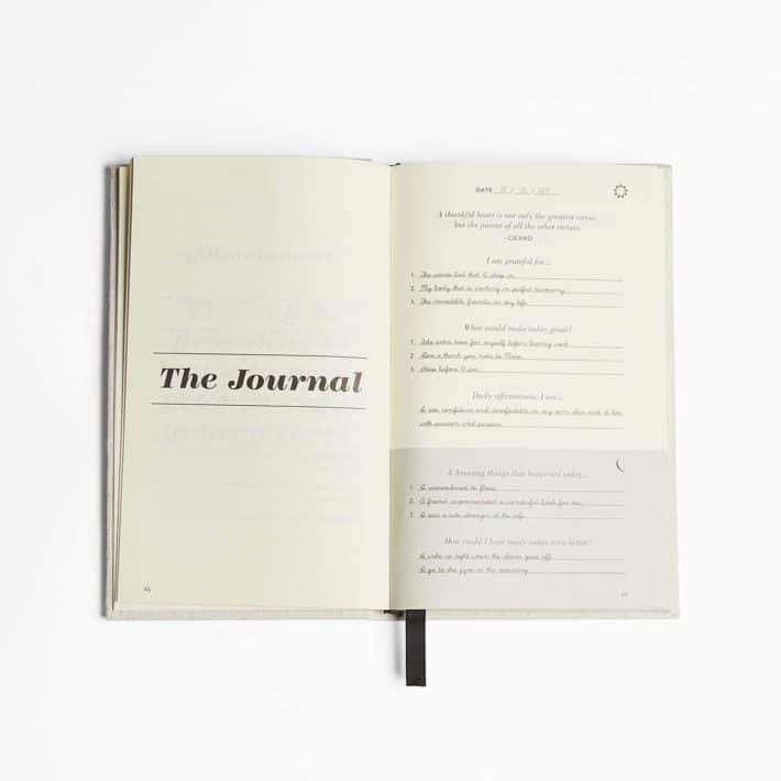 five minute journal is opened up to the first page